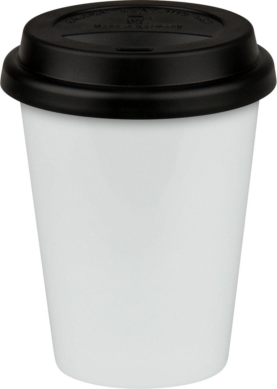 Coffee to go Becher aus Porzellan schwarz weiß