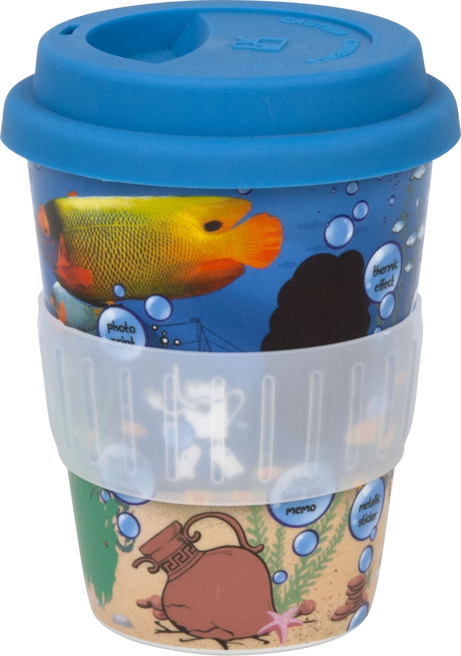 Coffee to go Becher aus Porzellan aqua
